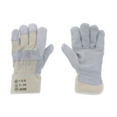 . Védőkesztyű, marha hasítékbőr, 10-es méret, szürke/beige (12db/csom) ME88