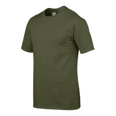GILDAN Környakas Gildan prémium pamut póló, katonaizöld