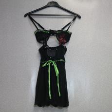 Fekete-Csipkés Fehérnemű Szett Zöld szalaggal - Egy méret