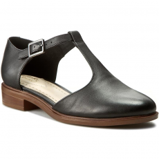 Clarks Félcipő CLARKS - Taylor Palm 261154894 Black Leather