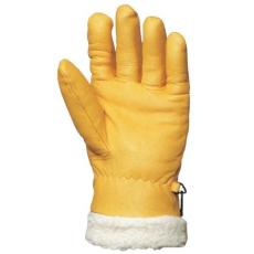 MV kesztyű 2491 , téli ,ISLANDE,sárga színmarha /SZŐRMEBÉLÉS 32cm  11-es
