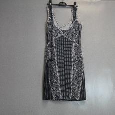 Fekete-fehér pántos V kivágású ruha - Egy méret