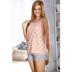 Babella Női pizsama 3039 rózsaszín/szürke szíves