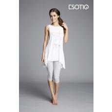esotiq Mintás női pizsama Kizzy 33127-00X fehér/szürke/lufik