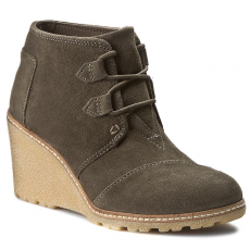 TOMS Magasított cipő TOMS - Desert Wedge 10008907 Tarmac Olive Suede With Faux Crepe Wedge