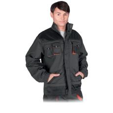 Kabát FORECO-J-SBP, Szürke - Fekete - Narancssárga (Munkavédelmi Kabát, 65% poliészter - 35% pamut)