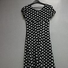 Fekete-fehér pöttyös rövid ujjú ruha - Egy méret