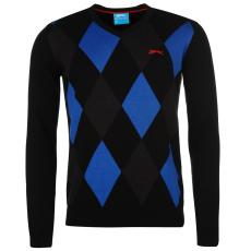 Slazenger Argyle V Neck Golf férfi pamut pulóver fekete L