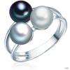ValeroPearls ValeroGyöngys gyűrű Sterling ezüst Süßwasser-ZuchtGyöngyngrau / ezüstgrau / Kék gyűrű 60