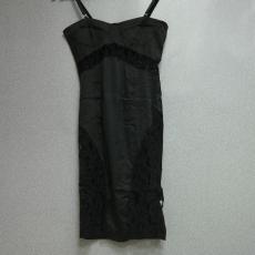111Fekete csipkés spagetti pántos ruha - Egy méret