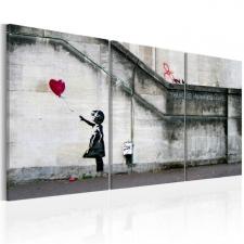 Artgeist Kép - Mindig van remény (Banksy) - triptych grafika, keretezett kép