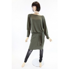 Derékban kötős zöld hosszított felső / ruha