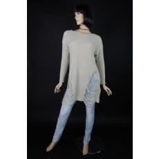 Női kötött pulóver, mindkét oldalán  szaggatott betéttel