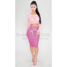 Regina's Desire Tempted Műbőr Midi Szoknya Pink