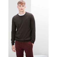 S.OLIVER Férfi kötött pulóver kerek nyakkal barna