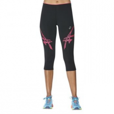 Asics Stripe Tight női futónadrág, Black/Pink, XL (141231-0688-XL)