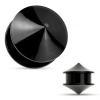 Fültágító plug, fekete színű akril, két fényes sima kúp