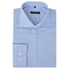 Csíkos fehér és kék L méretű üzleti férfi ing