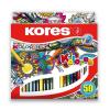 """KORES Színes ceruza készlet, háromszögletű, KORES """"Triangular"""", 50 különböző szín"""