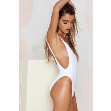 Fehér Egyrészes Hátán kivágott Bikini-Small