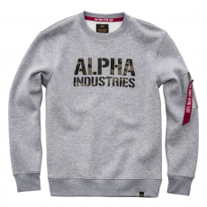 Alpha Industries Camo Print Sweat - greyheather/woodcamo