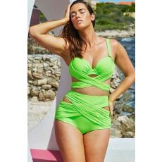 Csakcsajok Plus size zöld magas derekú bikini