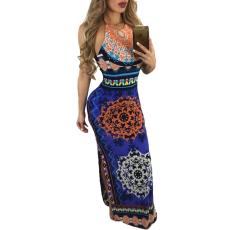 Csakcsajok Royal kék Afrikai mintás maxi ruha