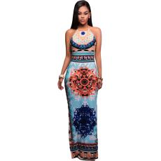Csakcsajok Világoskék Afrikai mintás maxi ruha