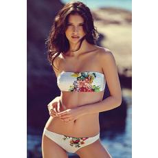 Sexy fehér virágos pánt nélküli bikini