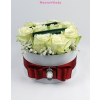 Fehér kicsi henger rózsa box fehér rózsákkal