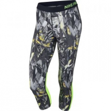 Nike Pro Cool Painted Palms Női 3/4-es Leggings, Fekete/Zöld, XL (832048-010-XL)