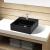 vidaXL Fürdőszoba szögletes kerámia mosdó Csaptelep lukkal fekete