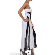 Csakcsajok Fekete-fehér csíkős áttetsző pánt nélküli maxi ruha