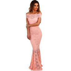 Csakcsajok Rózsaszín fishtail csipkés maxi ruha