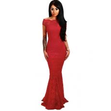 Csakcsajok Piros fishtail alul fodros maxi ruha
