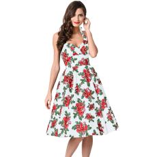 Retro hatású,fehér virágos ruha