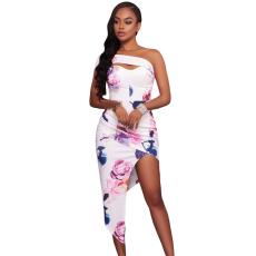 Asszimetrikus rózsaszín,virágos ruha