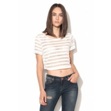 Silvian Heach Collection Tufillo Fehér Perforált Crop Top S (CVP17260TS-LATTE-S)