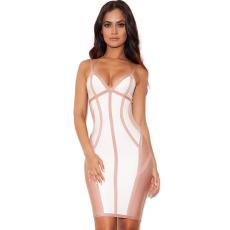 Fehér-nude csíkos ruha