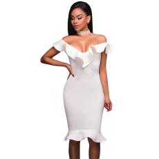 Fehér fodros midi ruha