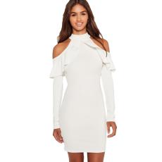 Fehér,fodros elegáns ruha
