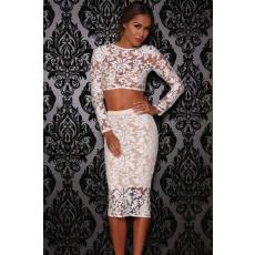 Fehér csipkés kétrészes midi ruha