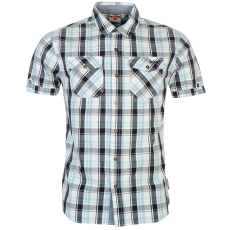 Lee Cooper Rövid ujjú férfi kockás ing kék XL