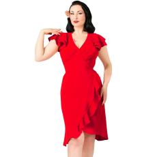 Csakcsajok Piros 50s évek fodros ruha
