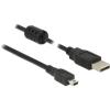 DELOCK USB 2.0-s kábel A-típusú csatlakozódugóval > USB 2.0 Mini-B csatlakozódugóval, 0,5...