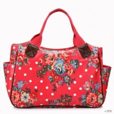 Miss Lulu London L1105F - Miss Lulu Oilcloth bevásárló táska táska Flower Polka Dot Plum