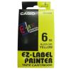 Casio XR-6YW1, 6mm x 8m, fekete nyomtatás / sárga alapon, eredeti szalag