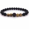 Ragyogj.hu Természetes kőből készült gyöngyökkel és cirkonköves betéttel ékített karkötő - matt - fekete