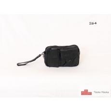 264 Fekete bőr autós táska csuklópánttal fekvő kivitel