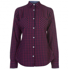 Lee Cooper női ing - sötétpiros- Lee Cooper Long Sleeve Check Shirt Ladies